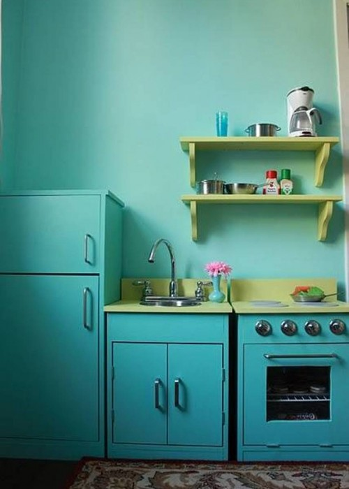 kitchen-turquoise-walls-with-green-open-shelving-and-free-standing-range-and-sink-and-pantry