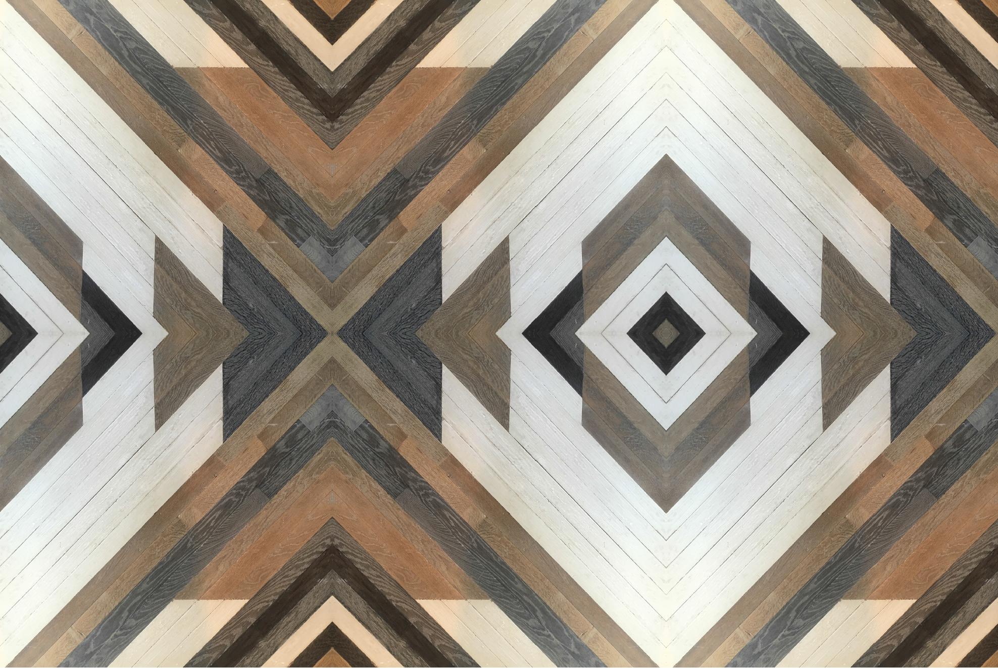 engineered geometric oak panel
